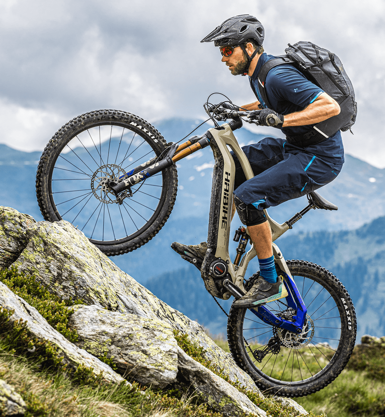Haibike Hero Andi Wittmann on Yamaha PW-X2 eMTB riding uphill