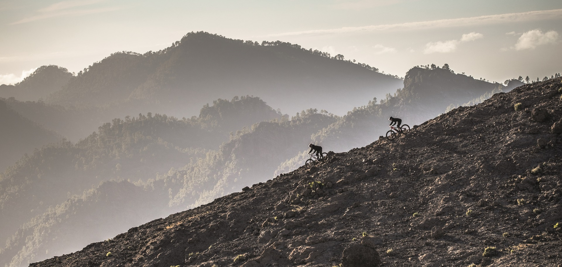 Two Haibike Downhill MTB riders in the mountains
