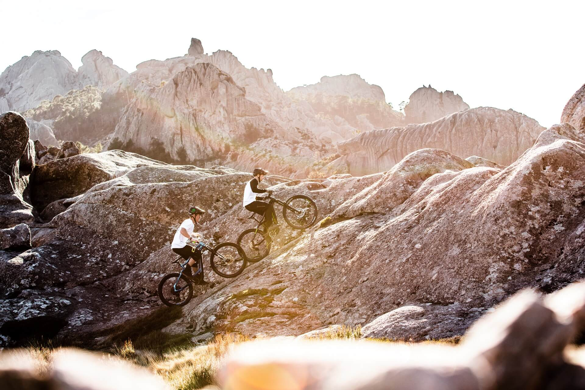 Haibike Hero Sam Pilgrim and Tom Cardy pedalling up a hill on Corsica