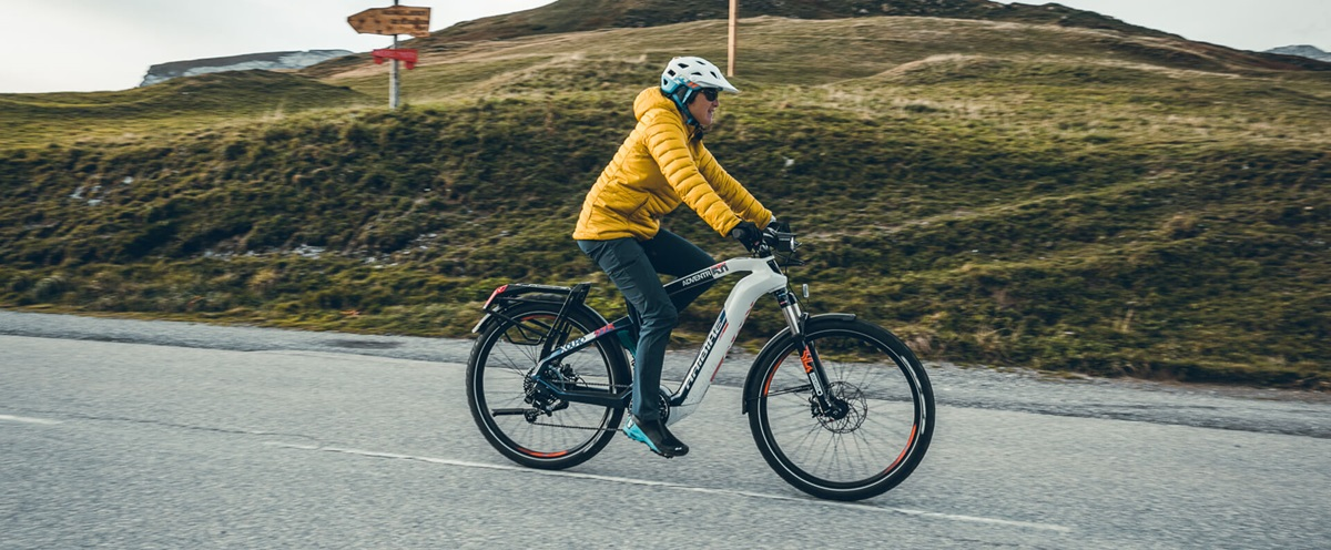 Haibike Hero Liv Sansoz riding her Adventr 5.0 Trekking eBike