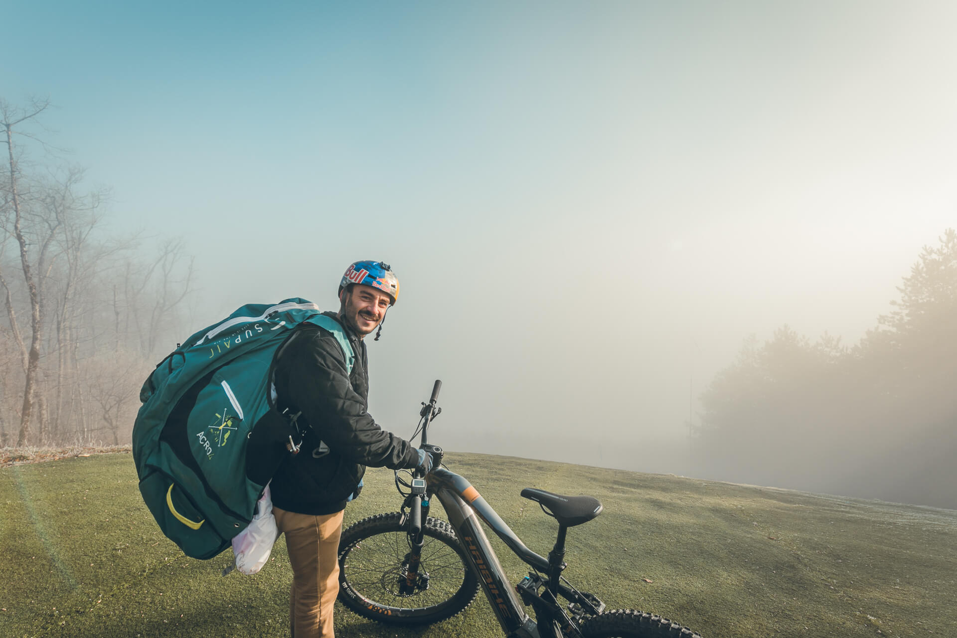 Haibike Hero Tim Alongi and his AllMtn 6.0 on an early foggy morning