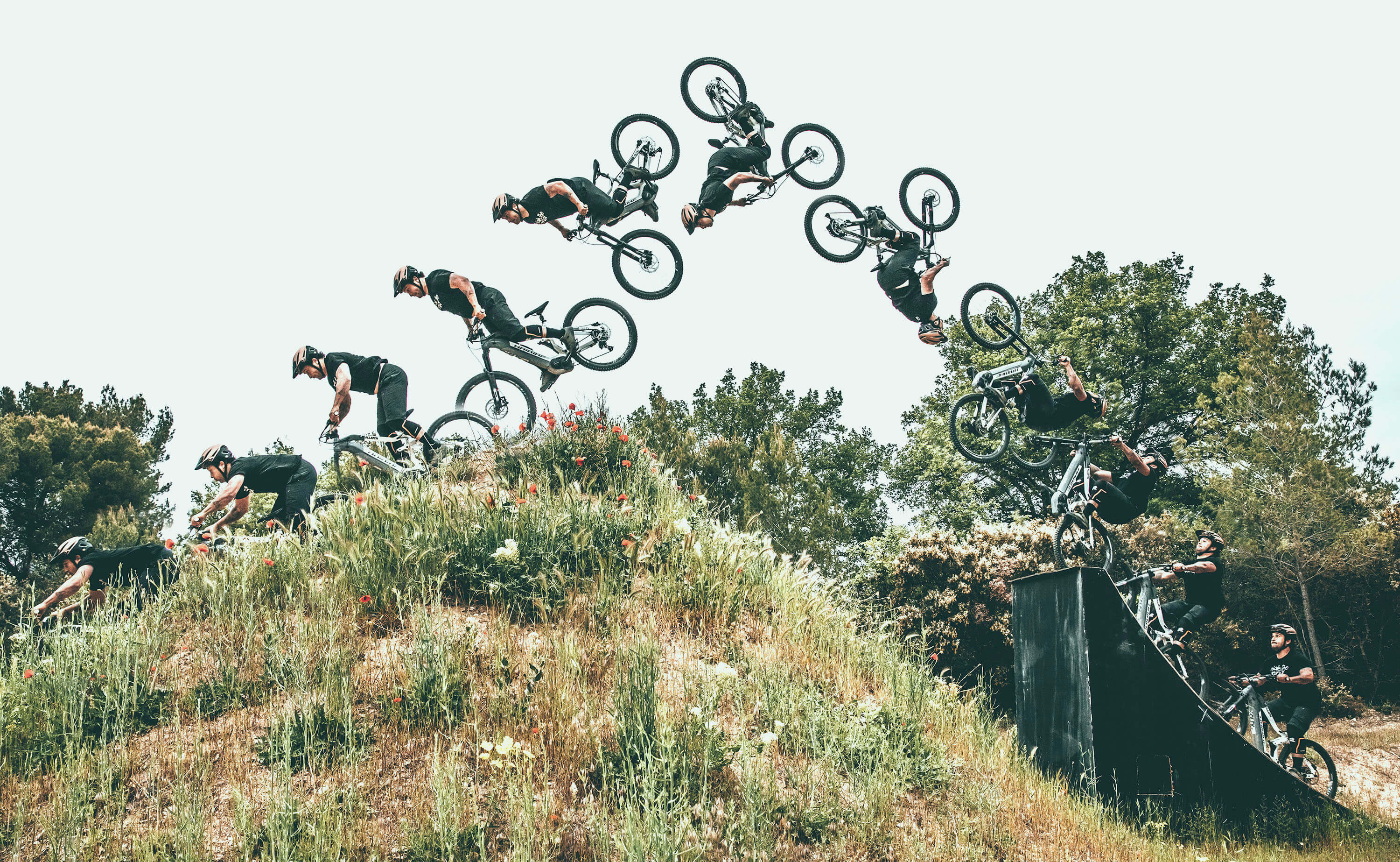 Haibike Hero Yannick Granieri doing a backflip