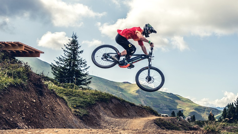 Downhill electric mountain bike with full suspension