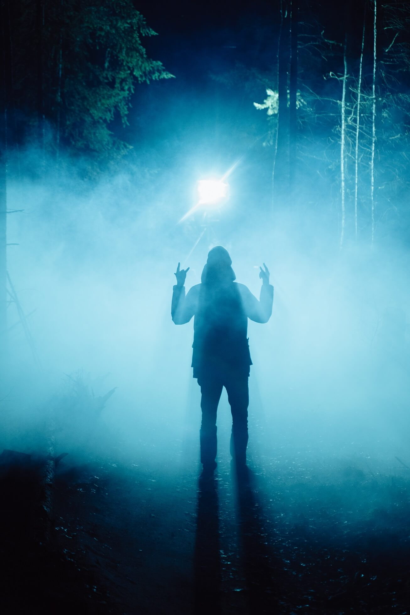 Silhouette of a man showing the Rock On gesture in a dark forest with blue lights in the background